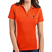 Antigua Women's Miami Hurricanes Orange Venture Polo