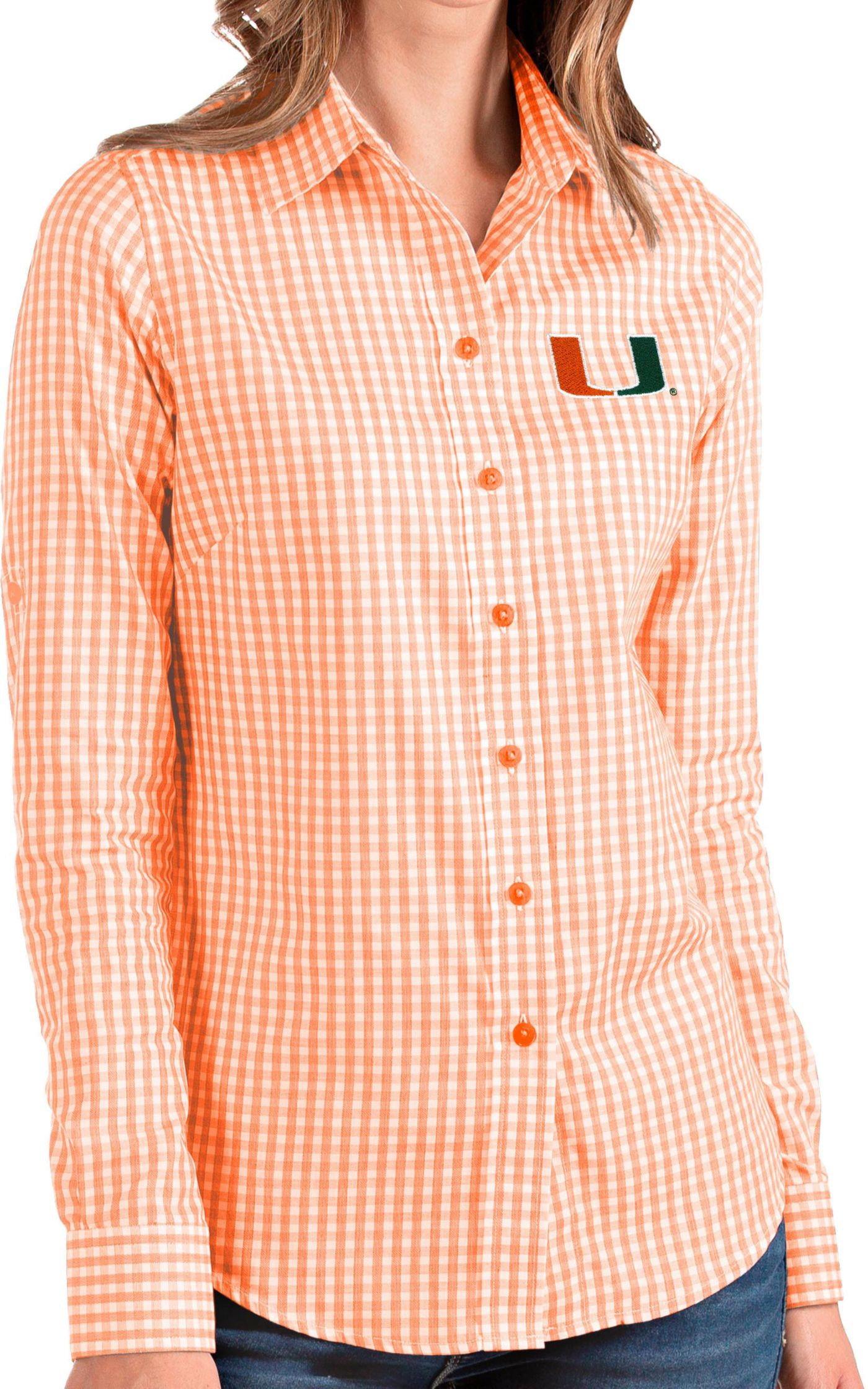 Antigua Women's Miami Hurricanes Orange Structure Button Down Long Sleeve Shirt
