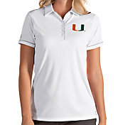 Antigua Women's Miami Hurricanes Salute Performance White Polo