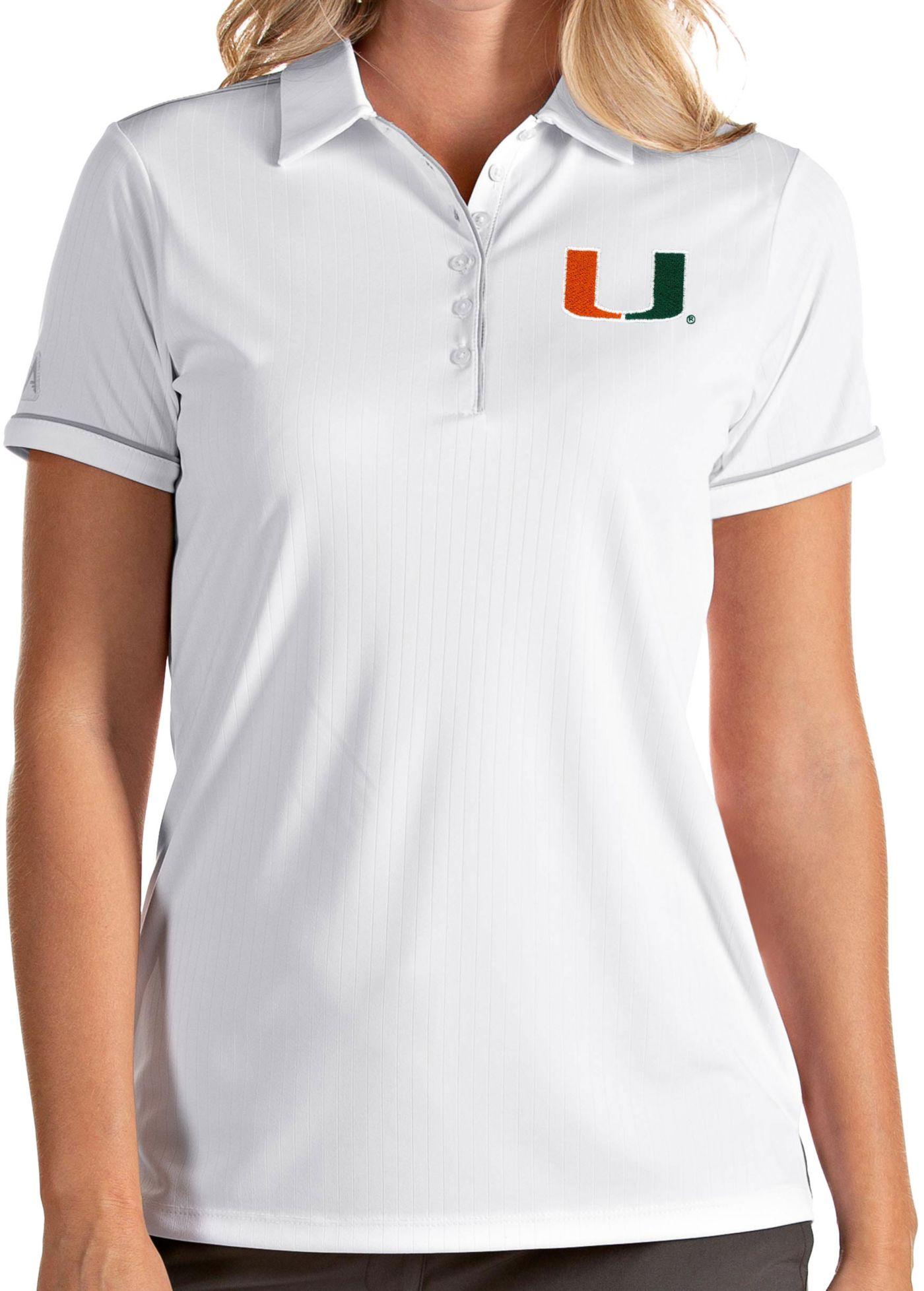 Antigua Women's Miami Hurricanes Salute Performance White Polo