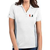Antigua Women's Miami Hurricanes Venture White Polo