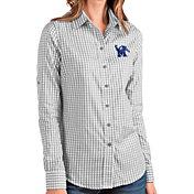 Antigua Women's Memphis Tigers Grey Structure Button Down Long Sleeve Shirt