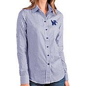 Antigua Women's Memphis Tigers Blue Structure Button Down Long Sleeve Shirt