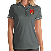 Antigua Women's Maryland Terrapins Grey Salute Performance Polo