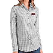 Antigua Women's Mississippi State Bulldogs Grey Structure Button Down Long Sleeve Shirt