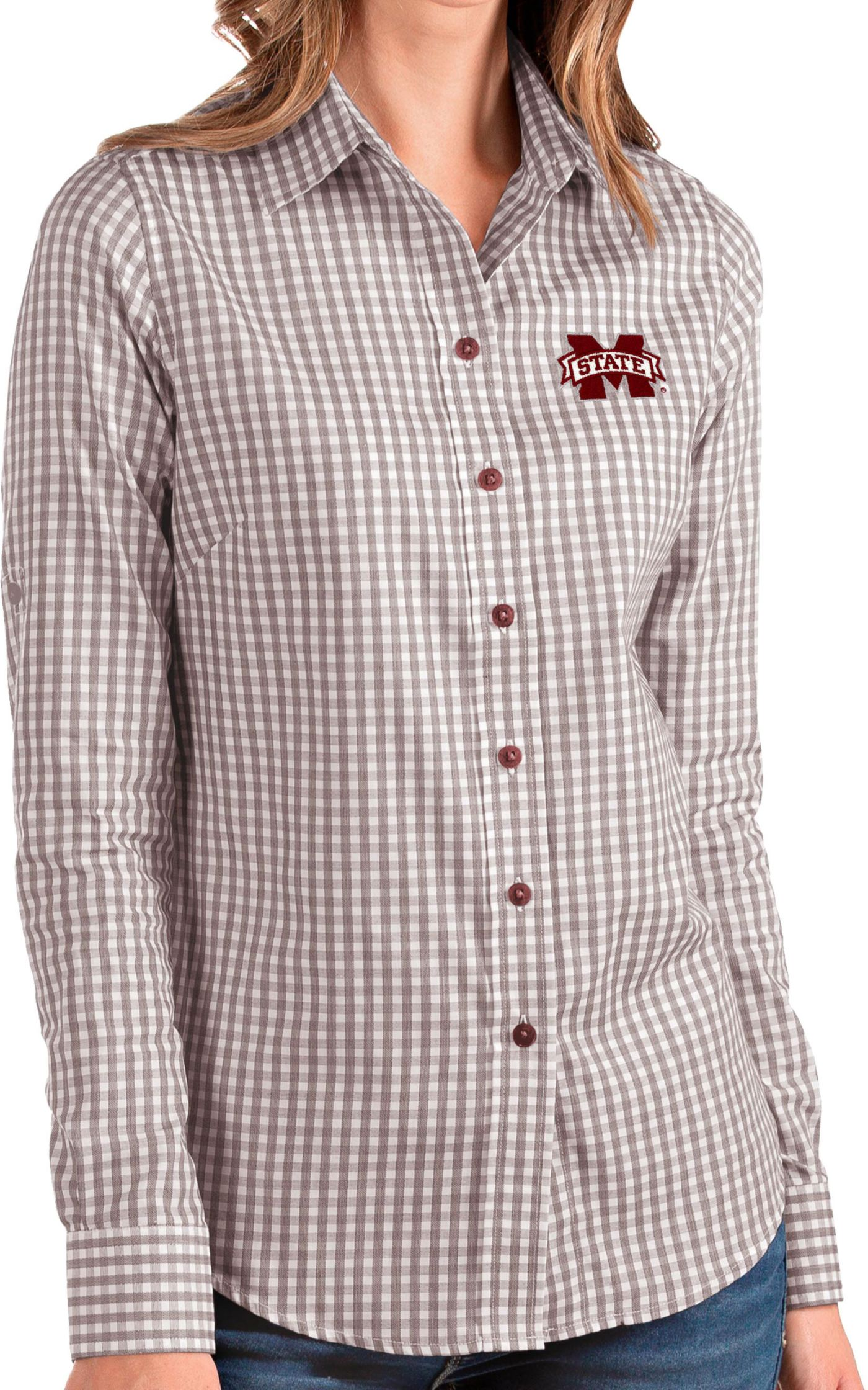 Antigua Women's Mississippi State Bulldogs Maroon Structure Button Down Long Sleeve Shirt