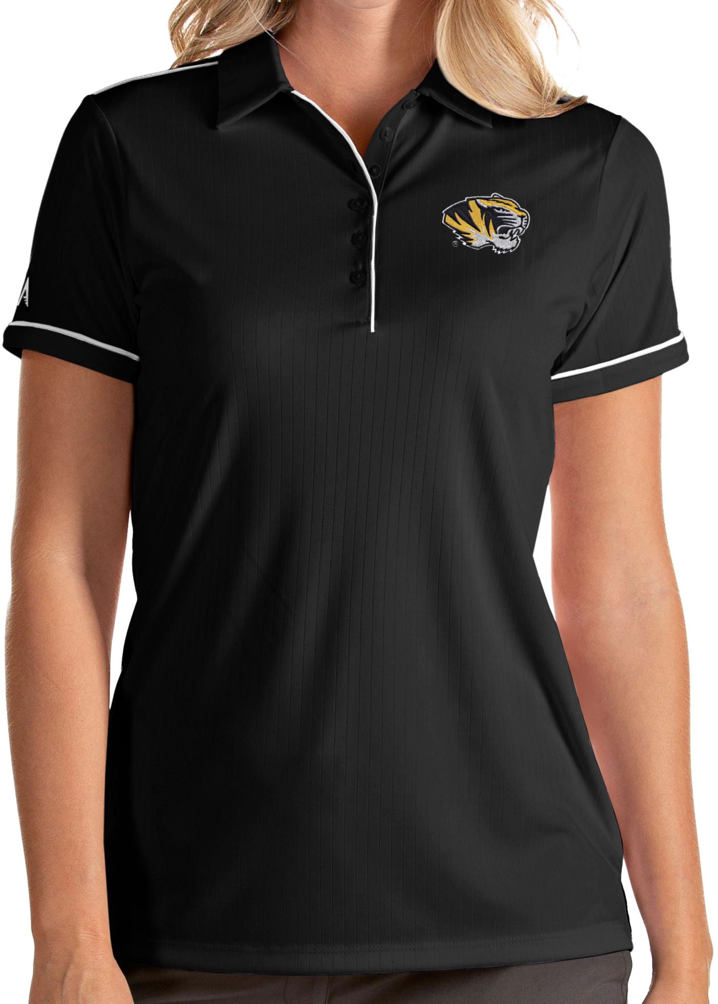 Antigua Women's Missouri Tigers Salute Performance Black Polo