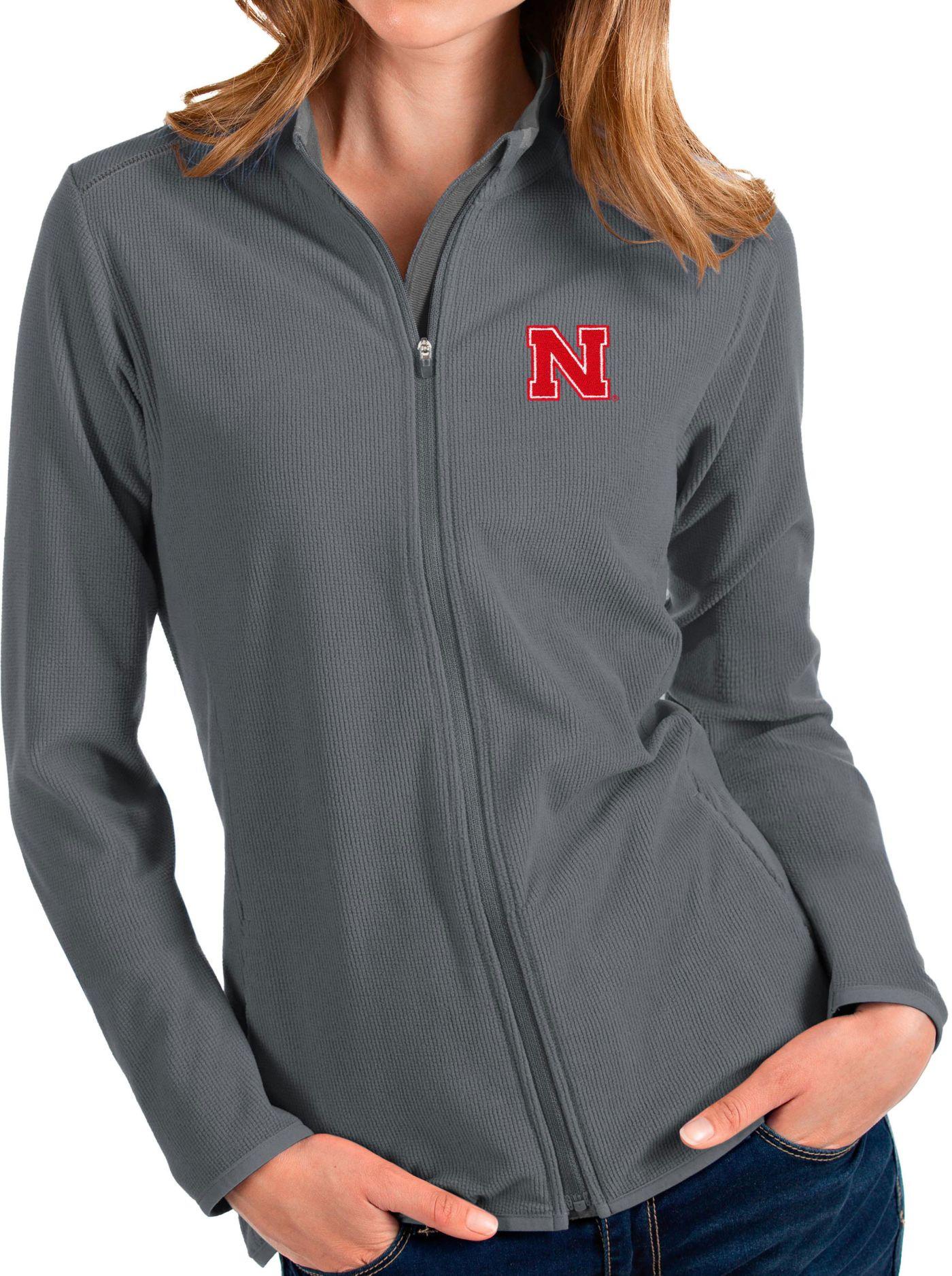 Antigua Women's Nebraska Cornhuskers Grey Glacier Full-Zip Jacket
