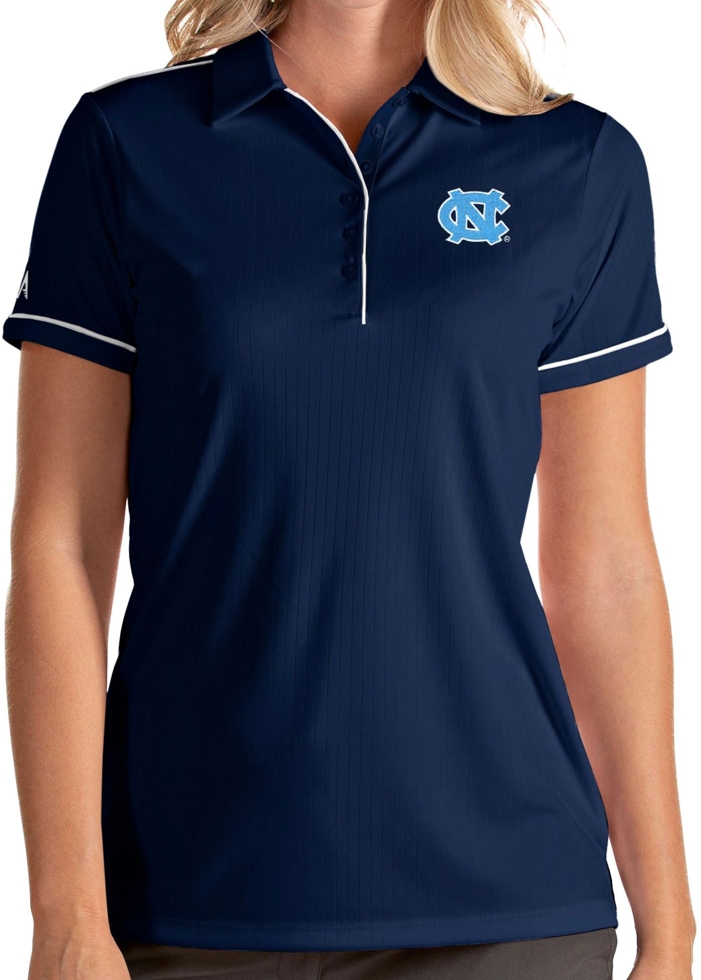 Antigua Women's North Carolina Tar Heels Navy Salute Performance Polo