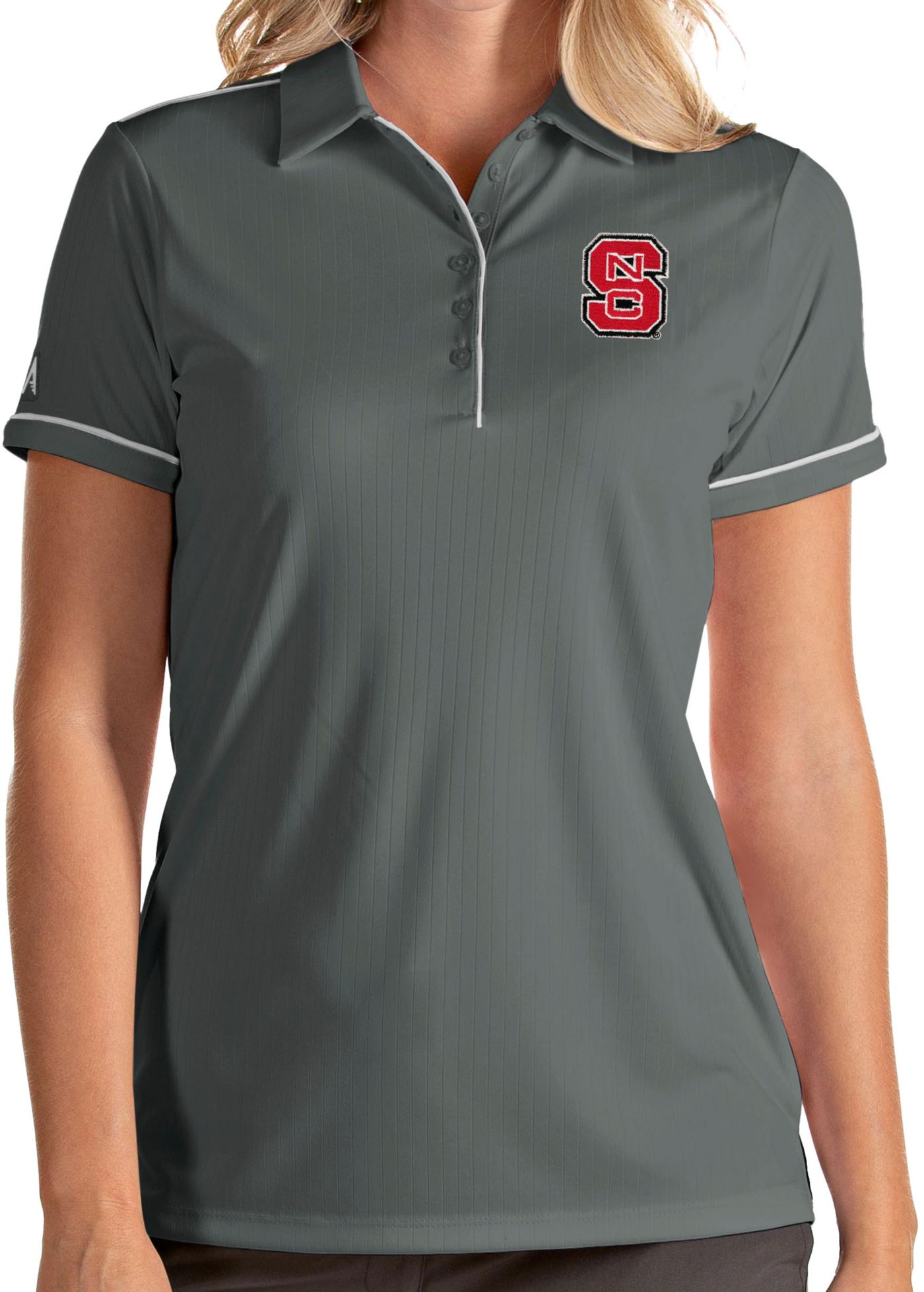 Antigua Women's NC State Wolfpack Grey Salute Performance Polo