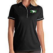 Antigua Women's North Dakota Fighting Hawks Salute Performance Black Polo