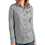 Antigua Women's North Dakota Fighting Hawks Structure Button Down Long Sleeve Black Shirt
