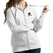 Antigua Women's Notre Dame Fighting Irish Victory Full-Zip White Hoodie