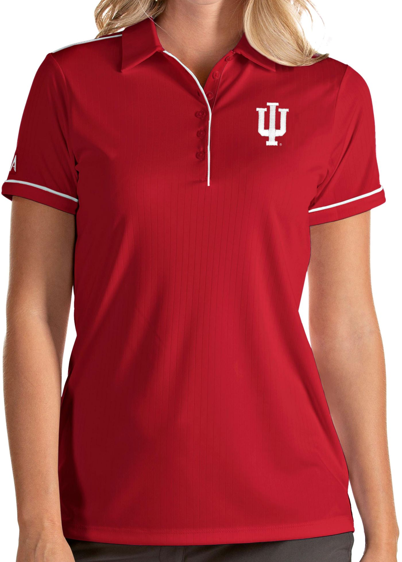 Antigua Women's Indiana Hoosiers Crimson Salute Performance Polo
