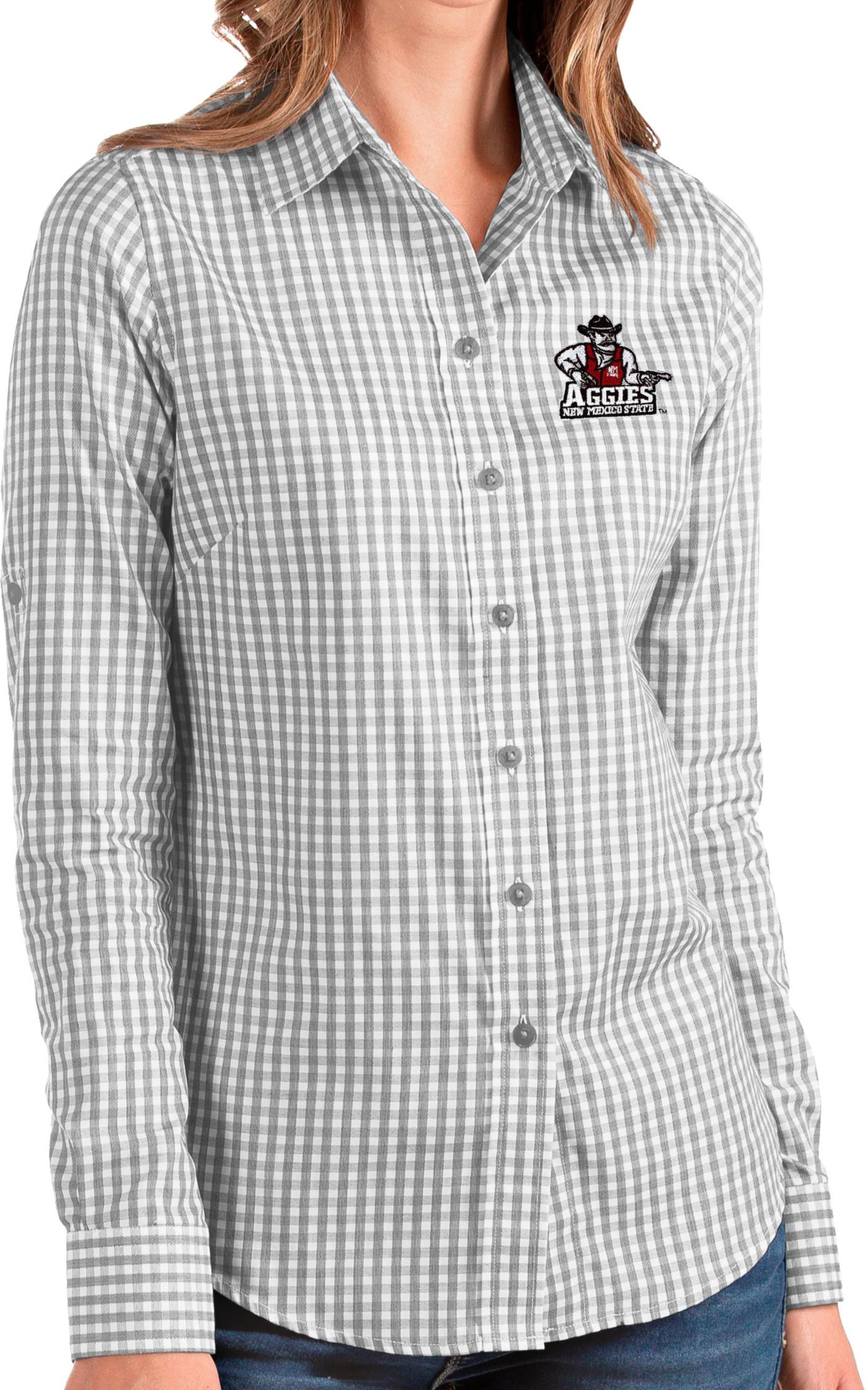 Antigua Women's New Mexico State Aggies Grey Structure Button Down Long Sleeve Shirt