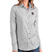 Antigua Women's New Mexico Lobos Grey Structure Button Down Long Sleeve Shirt