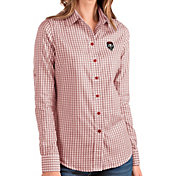 Antigua Women's New Mexico Lobos Cherry Structure Button Down Long Sleeve Shirt