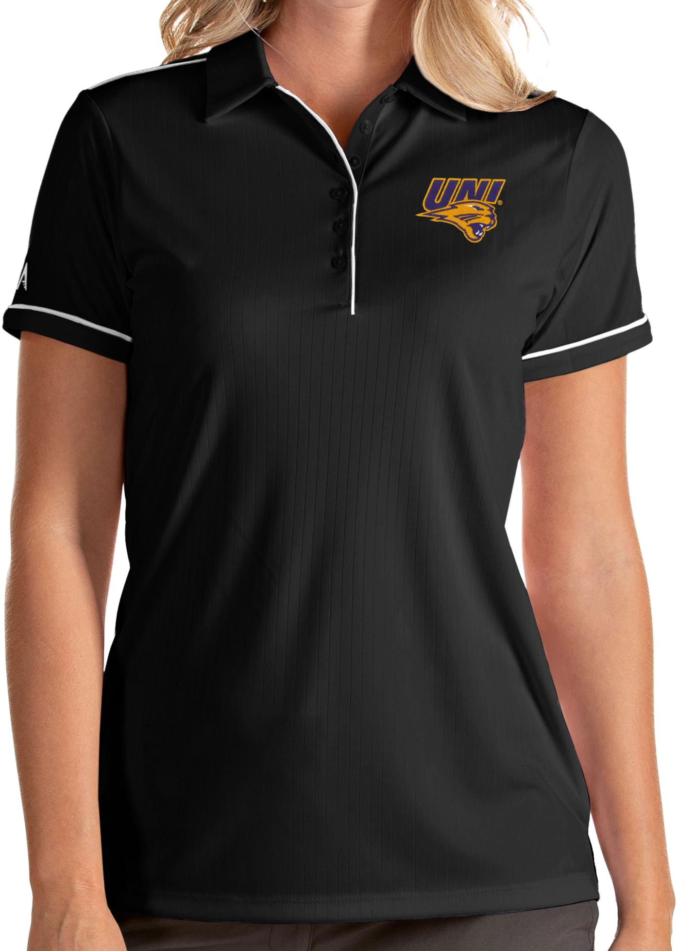 Antigua Women's Northern Iowa Panthers  Salute Performance Black Polo