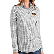 Antigua Women's Northern Iowa Panthers  Grey Structure Button Down Long Sleeve Shirt