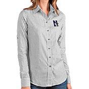 Antigua Women's Northwestern Wildcats Grey Structure Button Down Long Sleeve Shirt
