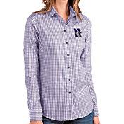 Antigua Women's Northwestern Wildcats Purple Structure Button Down Long Sleeve Shirt