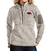 Antigua Women's Arkansas Razorbacks Oatmeal Fortune Pullover Jacket