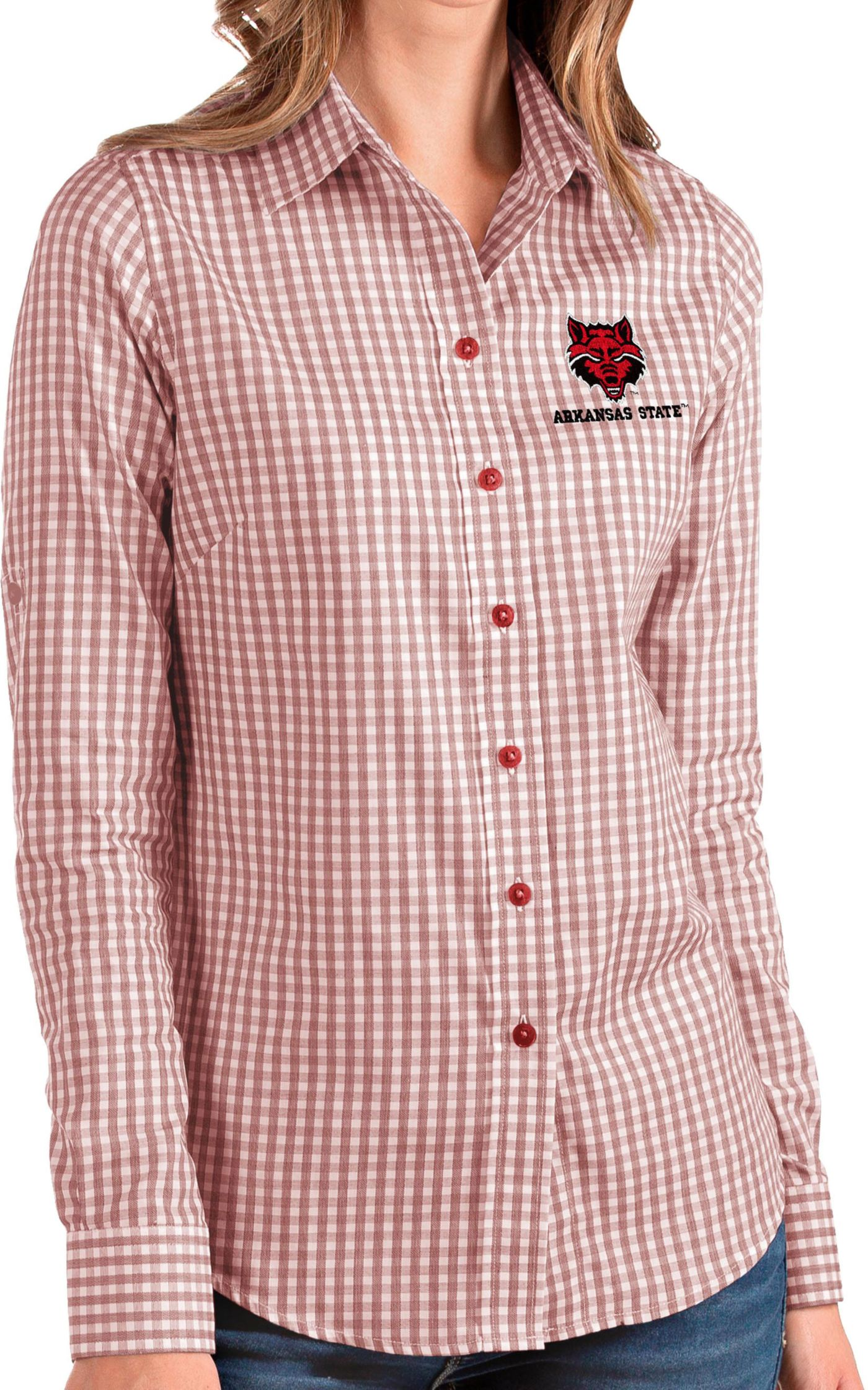 Antigua Women's Arkansas State Red Wolves Scarlet Structure Button Down Long Sleeve Shirt