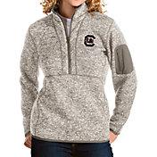 Antigua Women's South Carolina Gamecocks Oatmeal Fortune Pullover Jacket