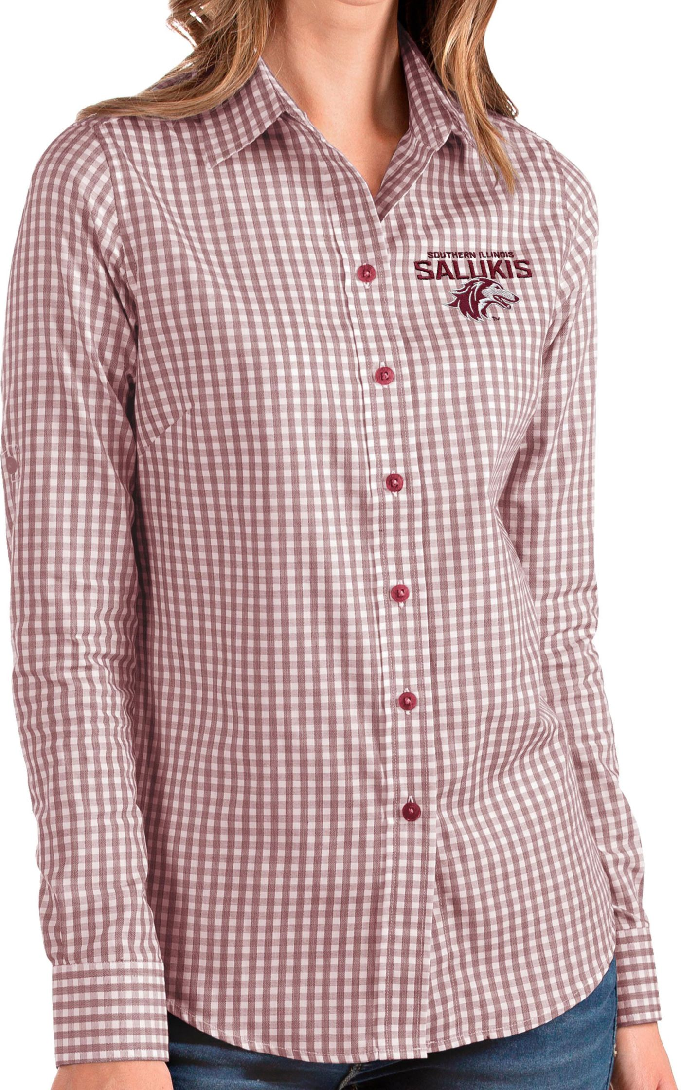 Antigua Women's Southern Illinois  Salukis Maroon Structure Button Down Long Sleeve Shirt