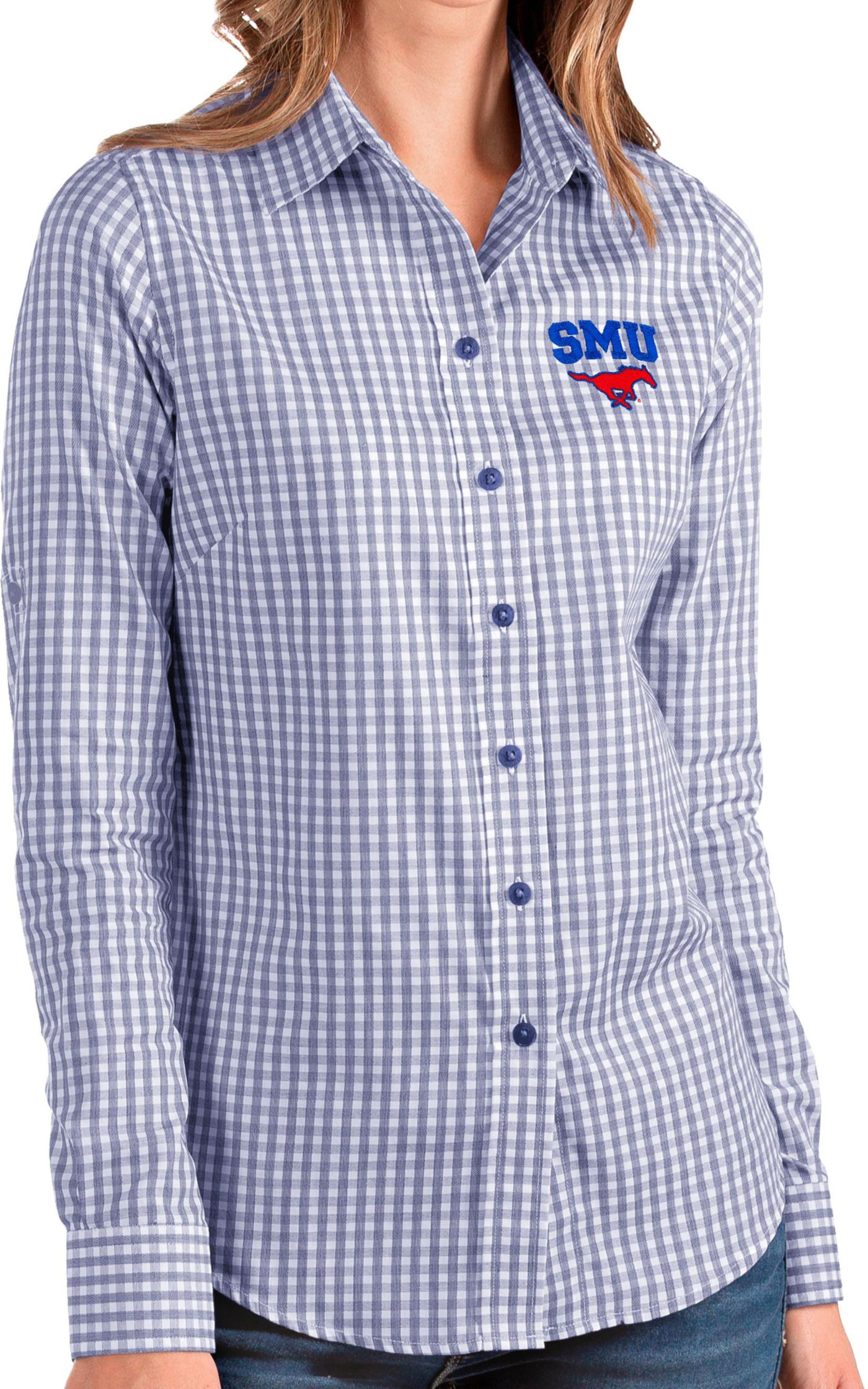Antigua Women's Southern Methodist Mustangs Blue Structure Button Down Long Sleeve Shirt