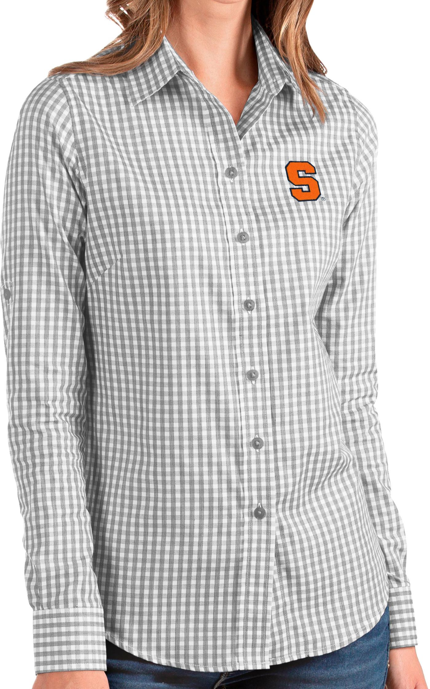Antigua Women's Syracuse Orange Grey Structure Button Down Long Sleeve Shirt