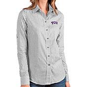 Antigua Women's TCU Horned Frogs Grey Structure Button Down Long Sleeve Shirt