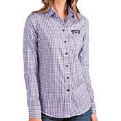 Antigua Women's TCU Horned Frogs Purple Structure Button Down Long Sleeve Shirt
