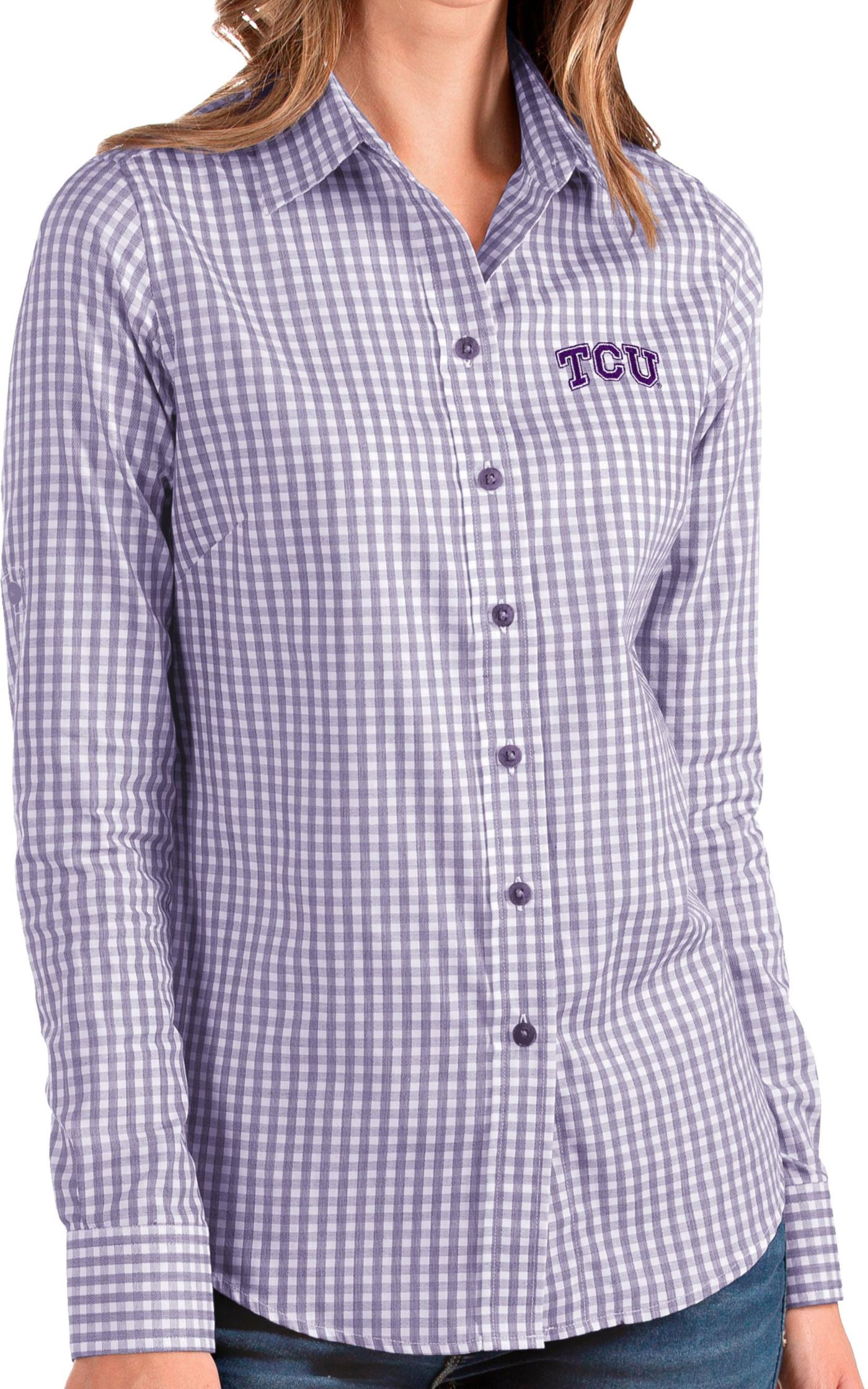Antigua Women's TCU Horned Frogs Purple Structure Button Down Long Sleeve Shirt