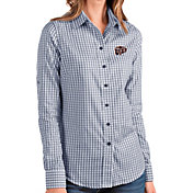 Antigua Women's UTEP Miners Navy Structure Button Down Long Sleeve Shirt