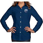Antigua Women's Virginia Cavaliers Blue 2019 Men's Basketball National Champions Associate Button Down Long Sleeve Shirt