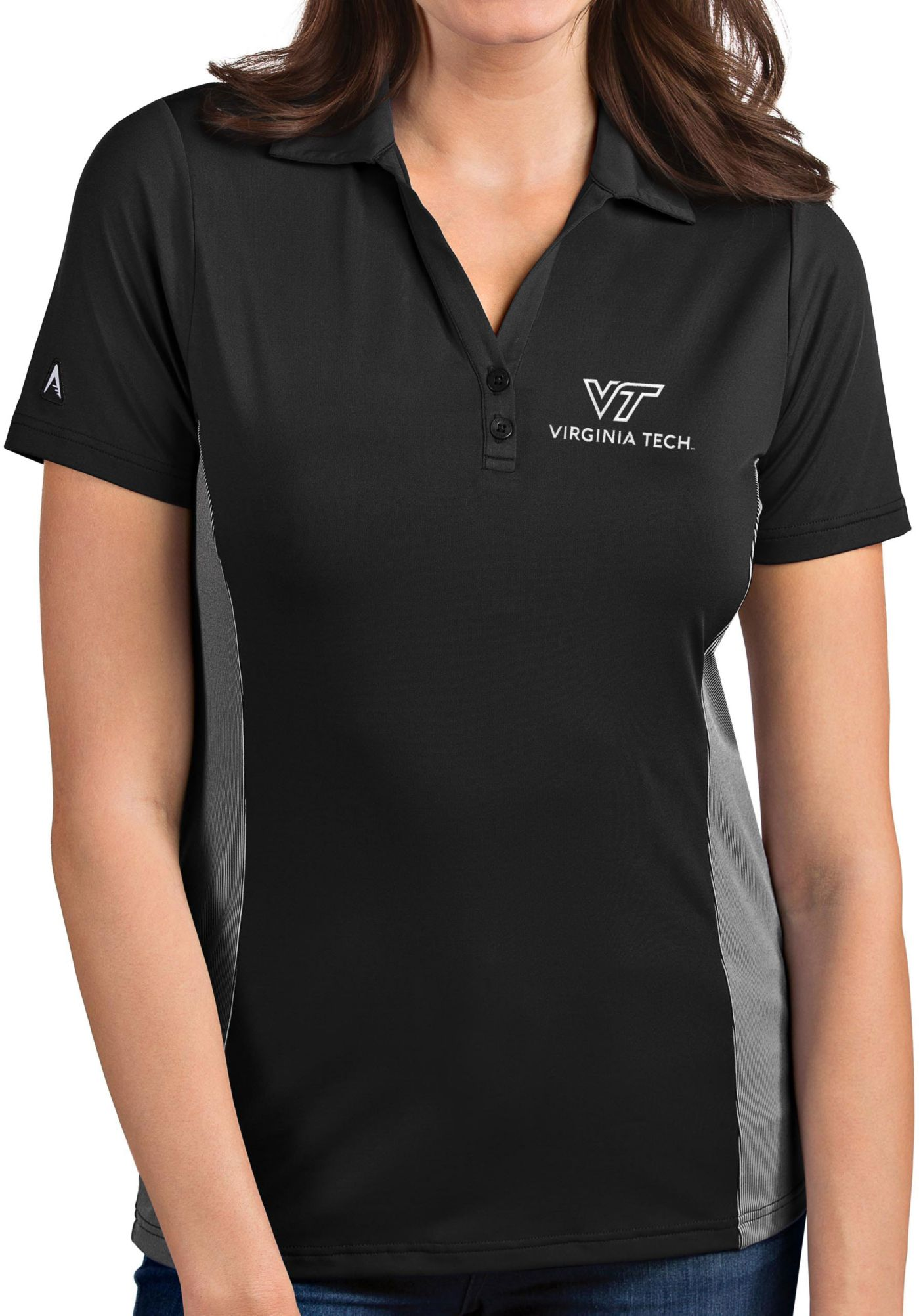 Antigua Women's Virginia Tech Hokies Grey Venture Polo