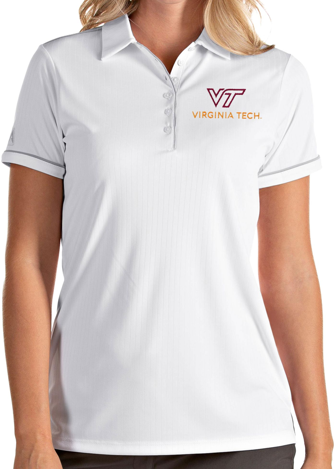 Antigua Women's Virginia Tech Hokies Salute Performance White Polo