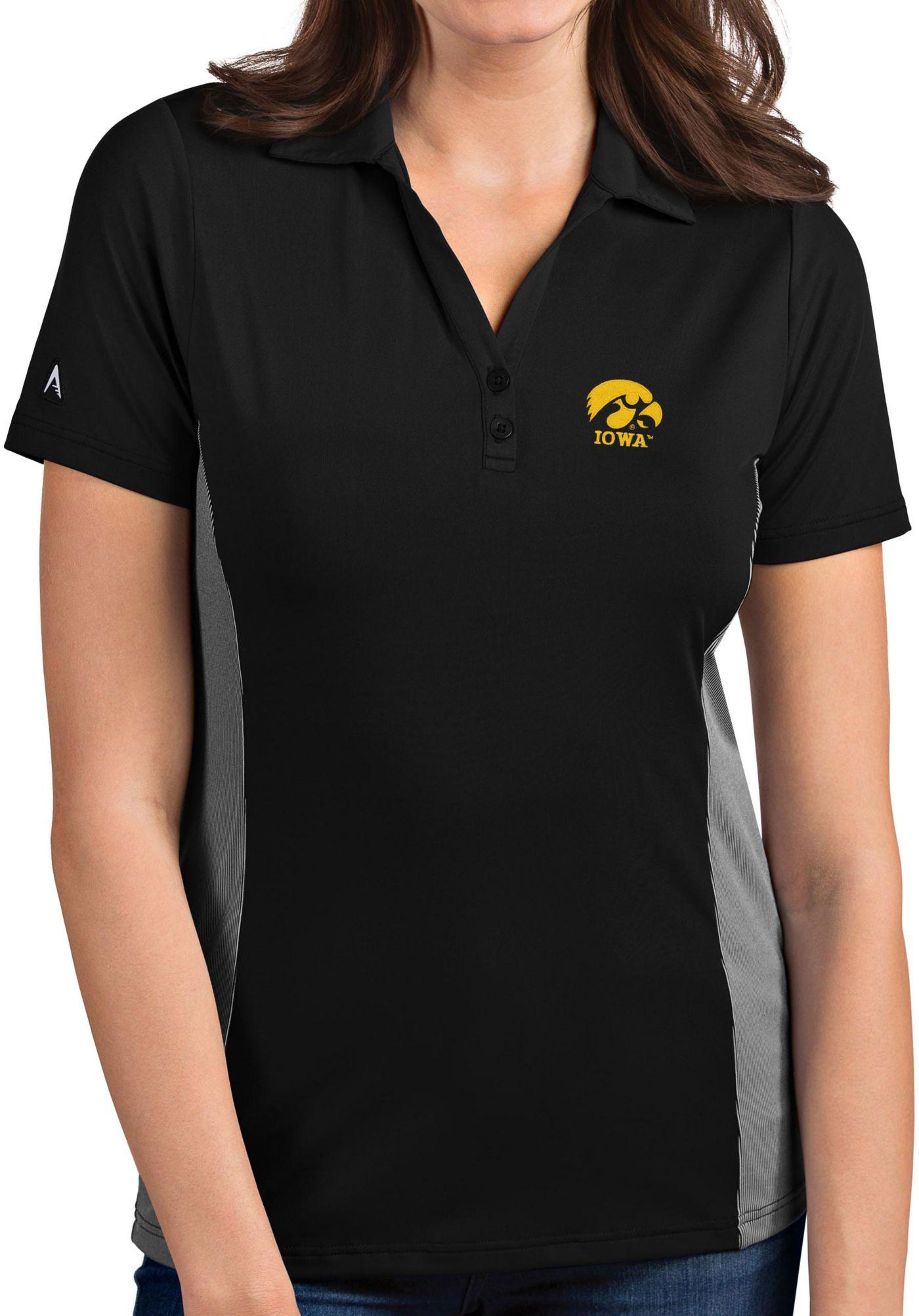 Antigua Women's Iowa Hawkeyes Venture Black Polo