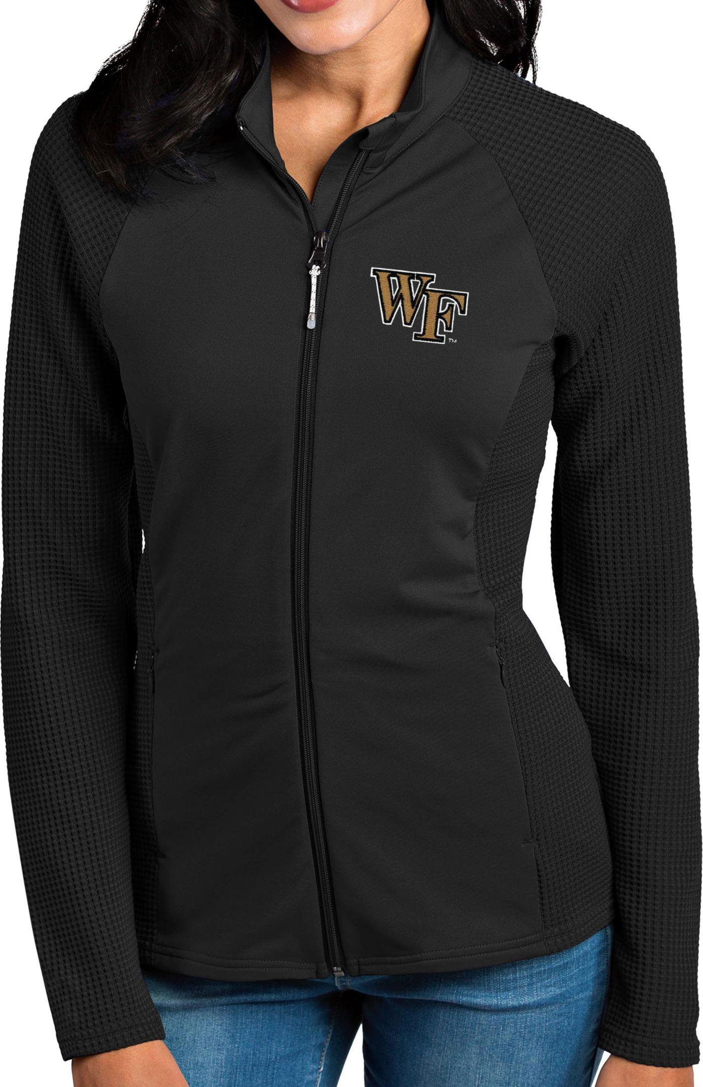 Antigua Women's Wake Forest Demon Deacons Black Sonar Full-Zip Performance Jacket