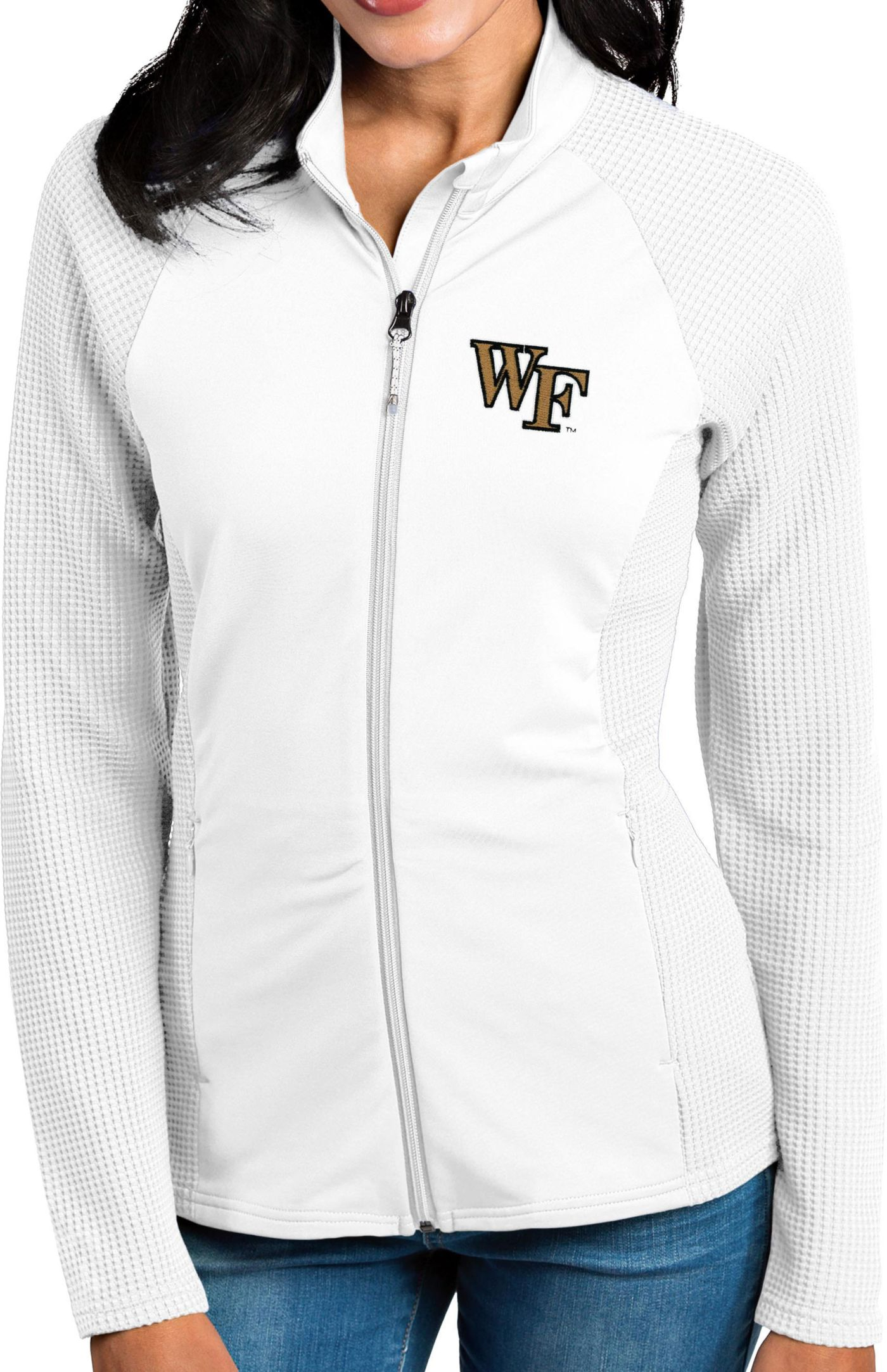 Antigua Women's Wake Forest Demon Deacons White Sonar Full-Zip Performance Jacket