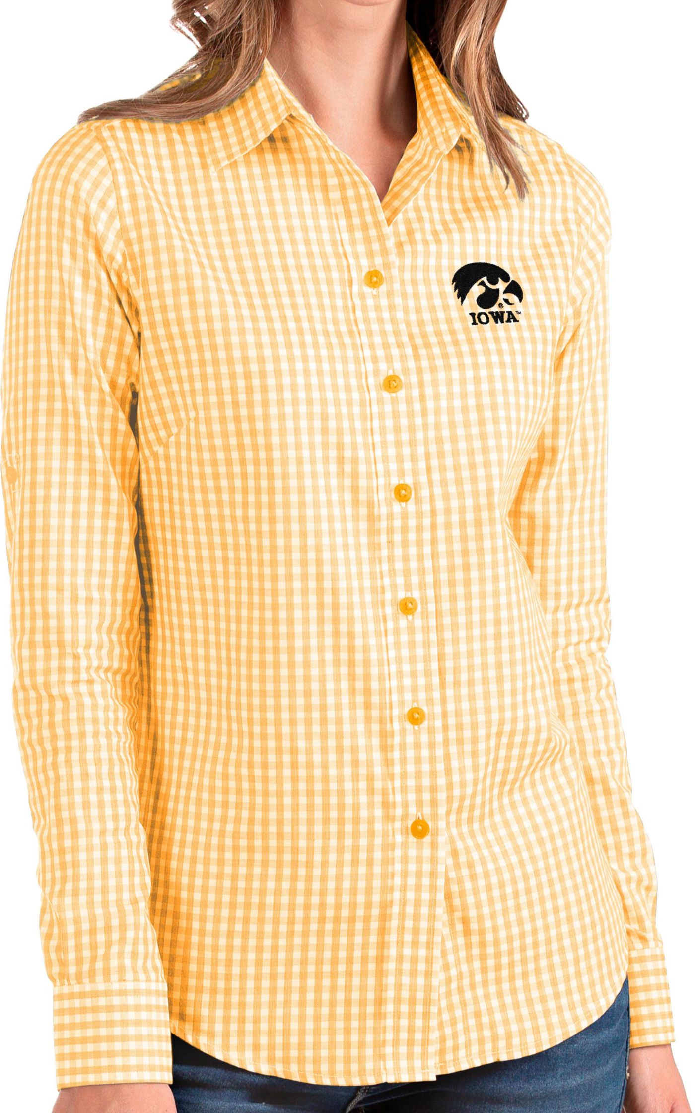 Antigua Women's Iowa Hawkeyes Gold Structure Button Down Long Sleeve Shirt