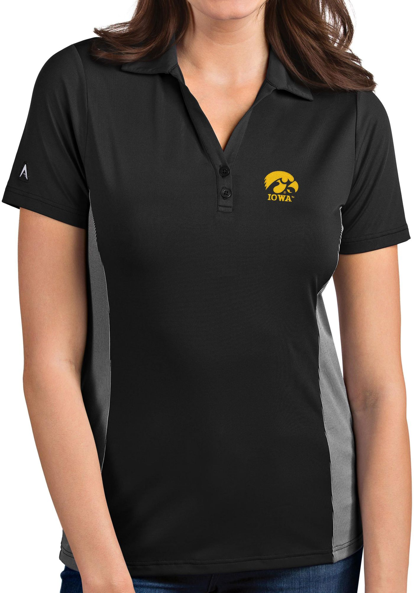 Antigua Women's Iowa Hawkeyes Grey Venture Polo