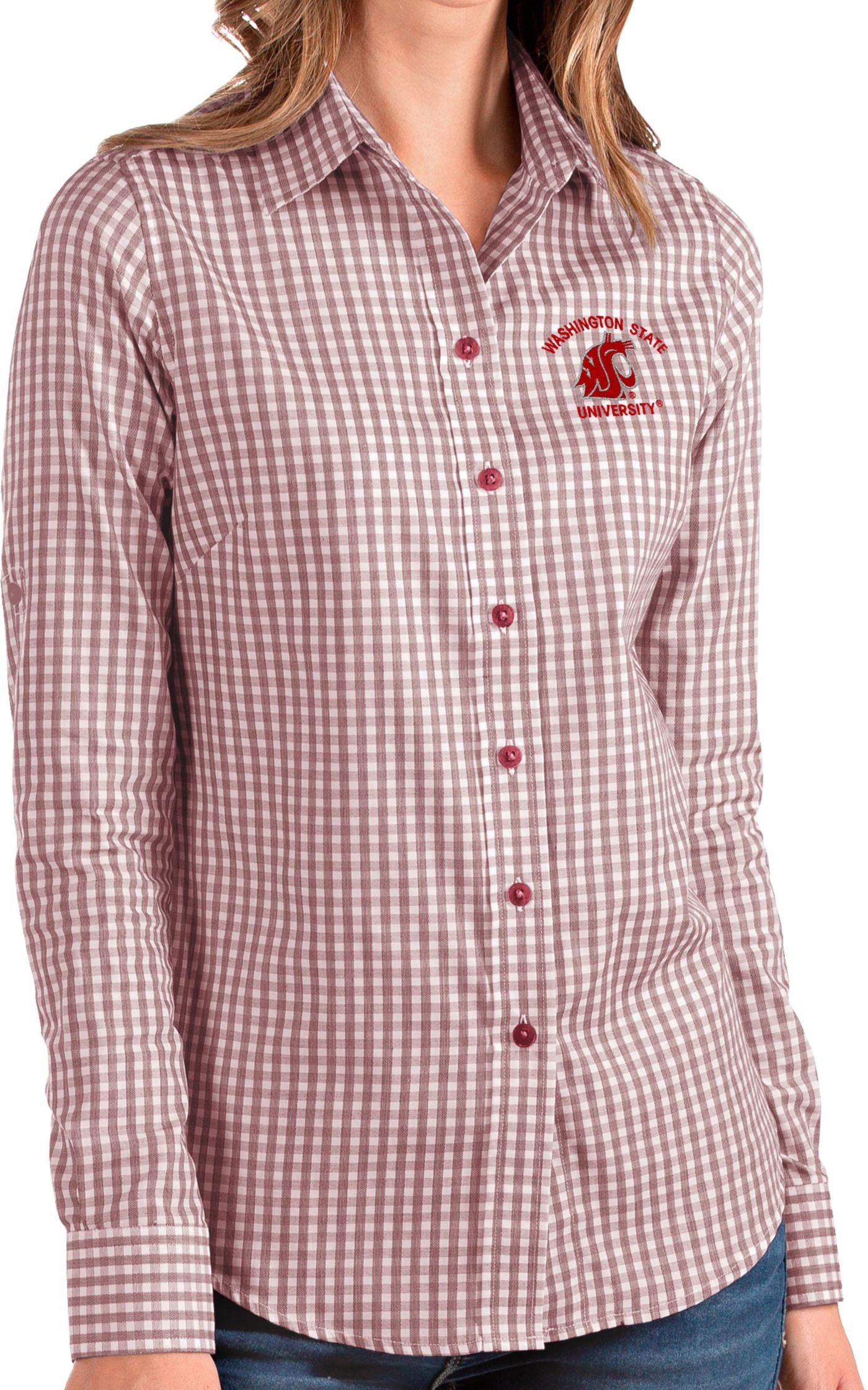 Antigua Women's Washington State Cougars Crimson Structure Button Down Long Sleeve Shirt
