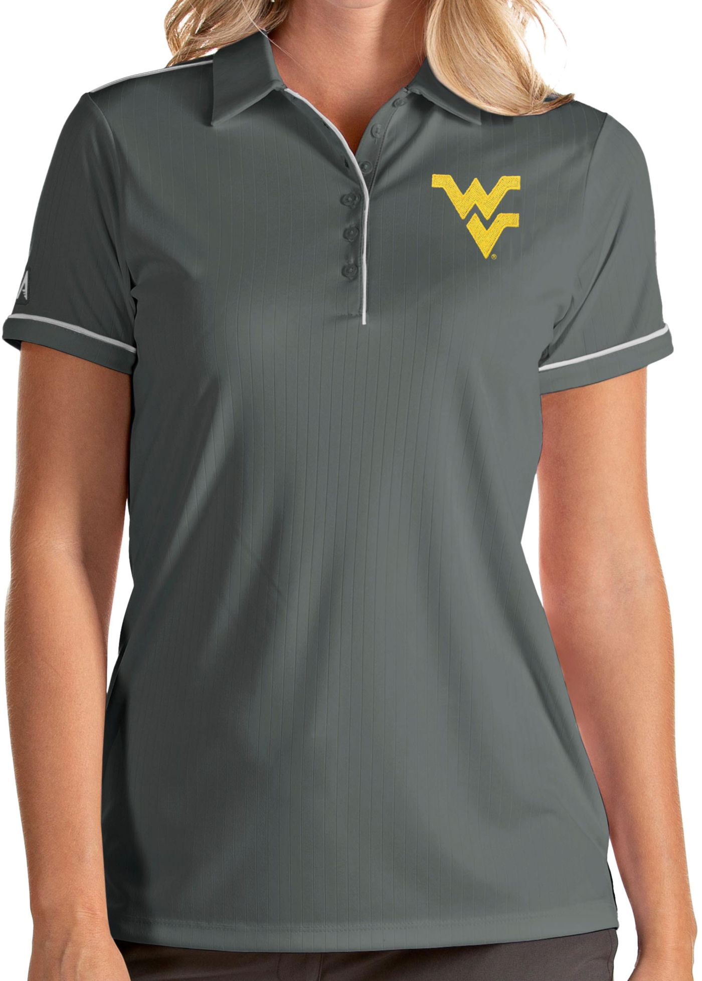 Antigua Women's West Virginia Mountaineers Grey Salute Performance Polo