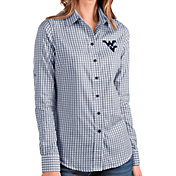Antigua Women's West Virginia Mountaineers Blue Structure Button Down Long Sleeve Shirt