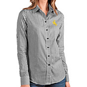 Antigua Women's Wyoming Cowboys Structure Button Down Long Sleeve Black Shirt