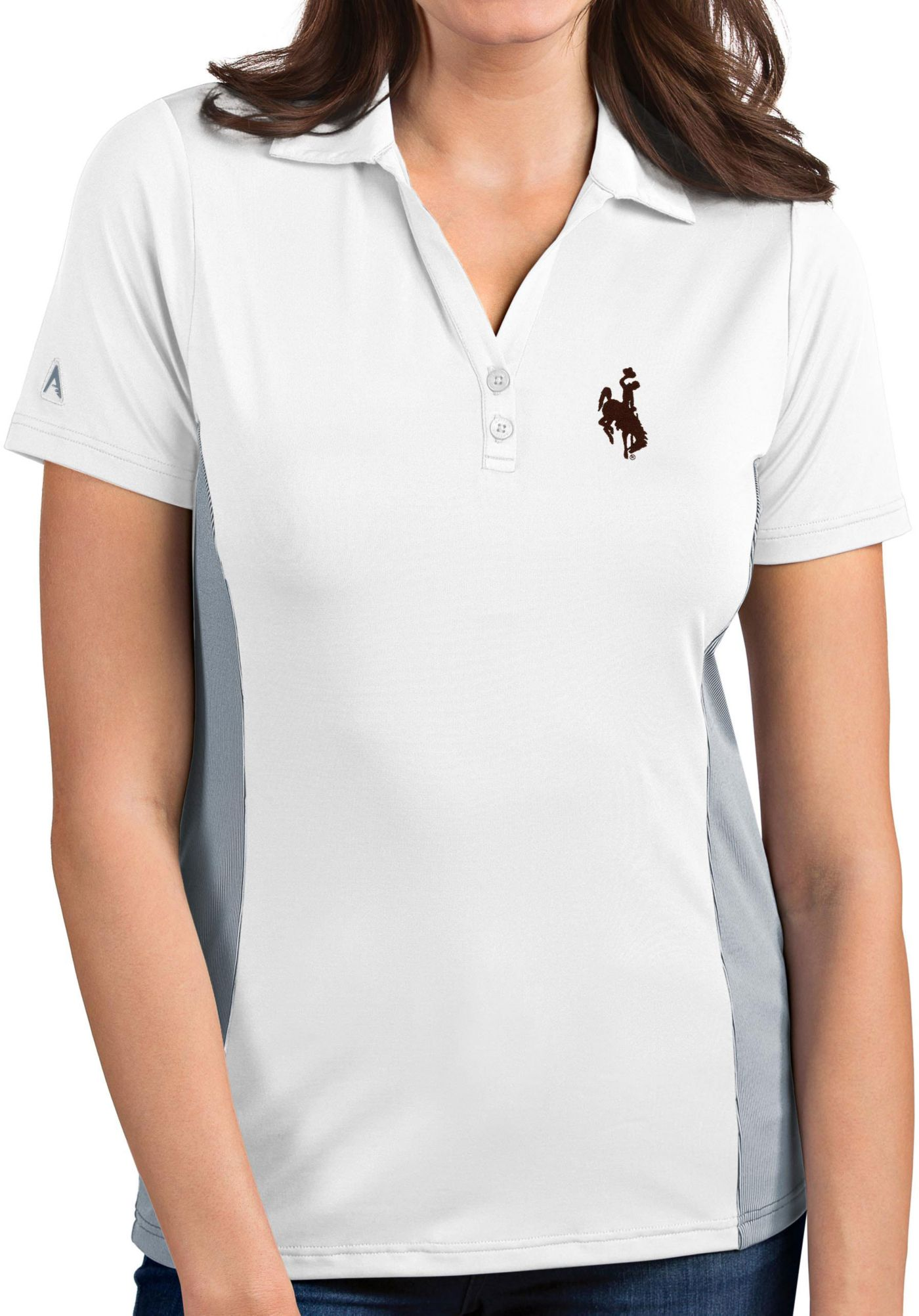 Antigua Women's Wyoming Cowboys Venture White Polo