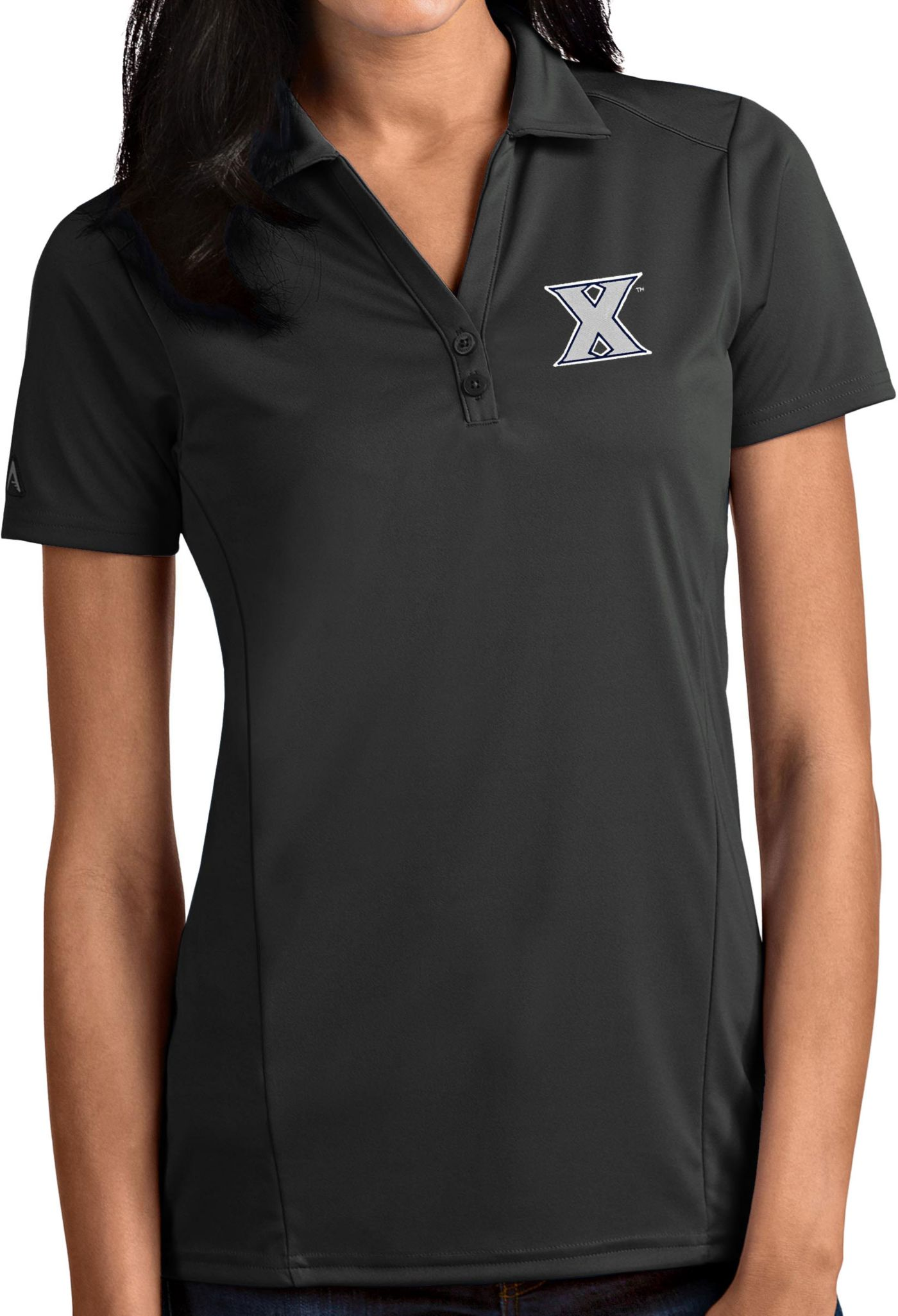 Antigua Women's Xavier Musketeers Grey Tribute Performance Polo