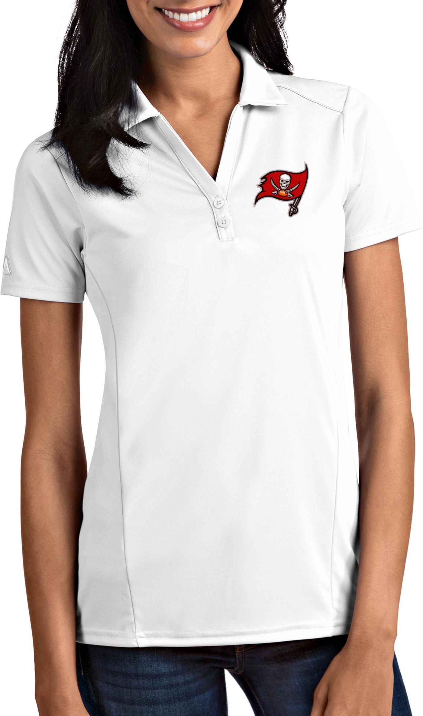 Antigua Women's Tampa Bay Buccaneers Tribute White Polo